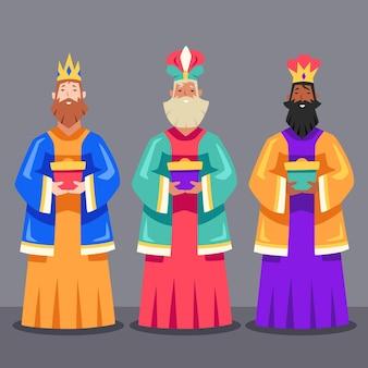 Flat design reyes magos