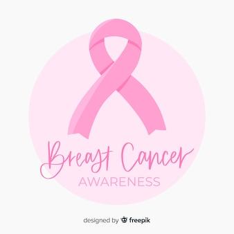 Flat design ribbon breast cancer awareness