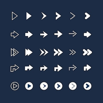 Flat design right arrow set
