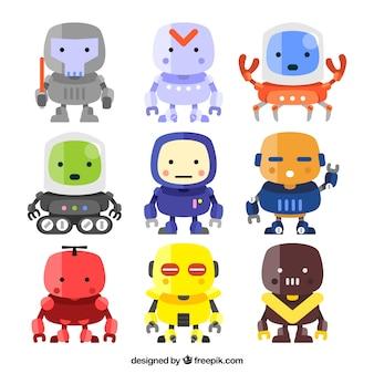 평면 디자인 로봇 캐릭터 컬렉션