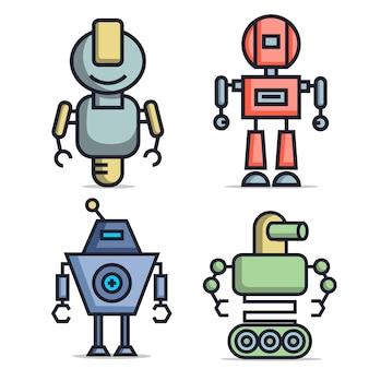 Flat design robot character collection Premium Vector