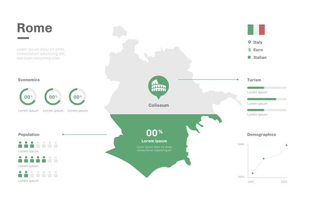 Плоский дизайн информации о карте рима