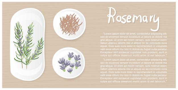 흰색 접시에 평면 디자인 로즈마리 잎