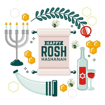 Design piatto rosh hashanah concept