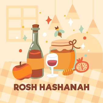 Design piatto rosh hashanah cibo sul tavolo