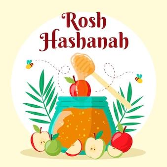 Flat designrosh hashanah honey and apples