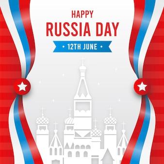 フラットなデザインのロシアの日と都市