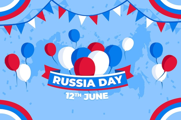 Flat design russia day background with balloons