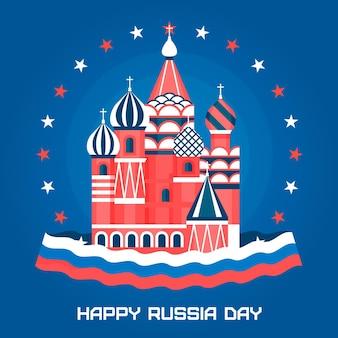 Flat design russia day concept