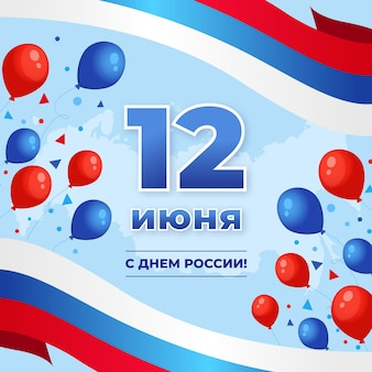 Flat design russia day concept