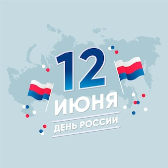 Flat design russia day and map