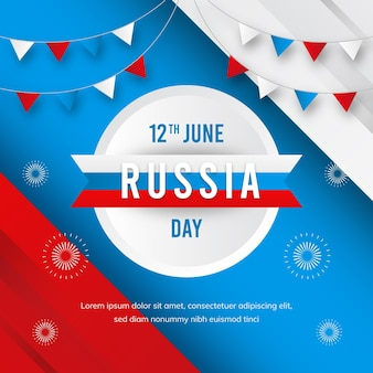 Flat design russia day ribbons and garlands