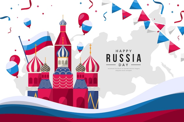Flat design russia day template