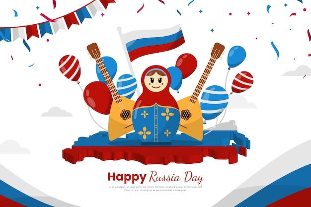 Плоский дизайн россия день с гитарами