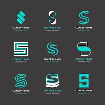 평면 디자인의 로고 템플릿 팩