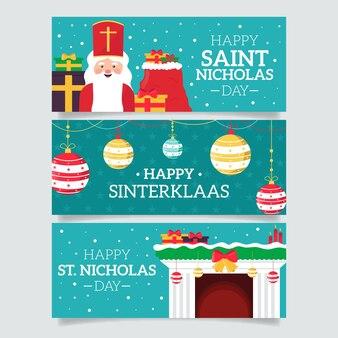 Плоский дизайн шаблона баннера день святого николая