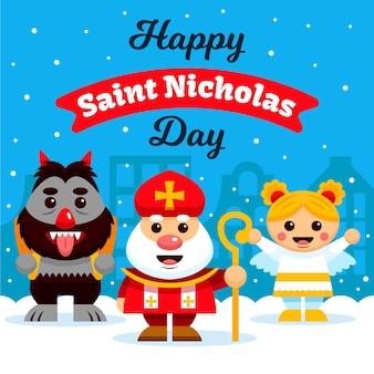 フラットデザイン聖ニコラスの日のコンセプト