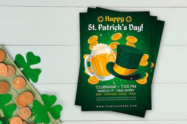 Flat design saint patrick's day poster template