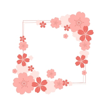 Flat design sakura flower copy space