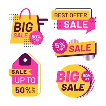 Плоский дизайн коллекции значков продажи