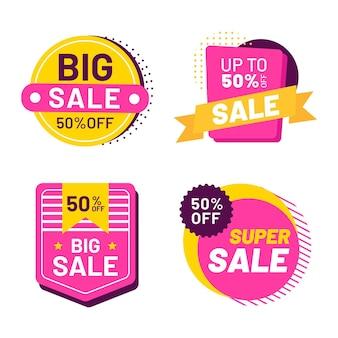Flat design sale badges collection