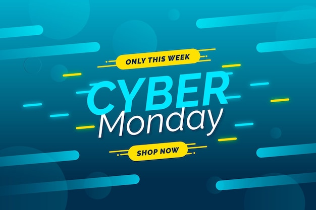 Flat design sale banner cyber monday template