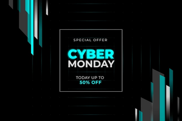 Flat design sale banner cyber monday