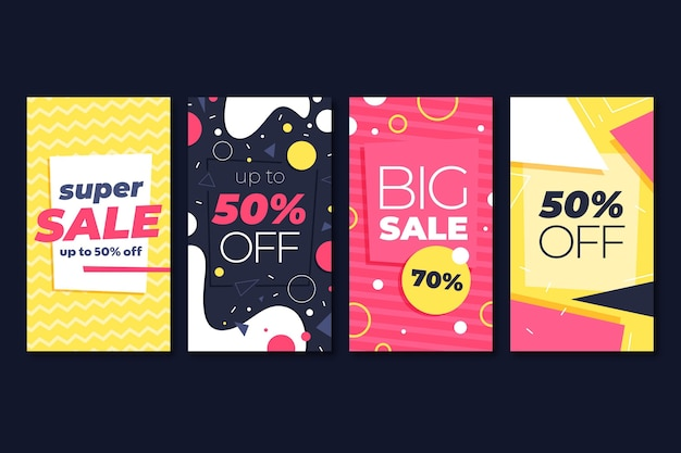 Flat design sale ig stories collection with special discounts