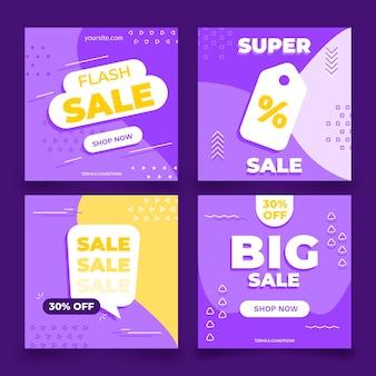 Плоский дизайн продажи instagram пост набор