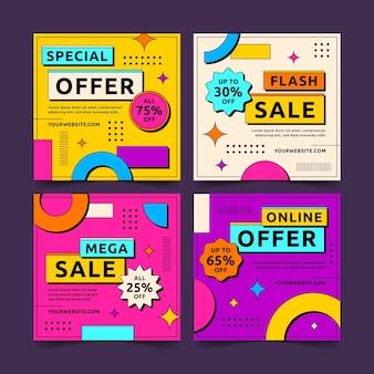 Flat design sale instagram post set