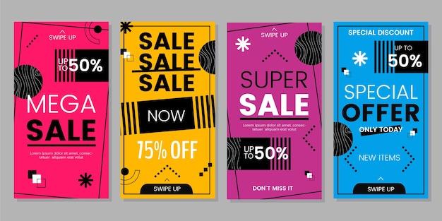 Set di storie di instagram di vendita di design piatto