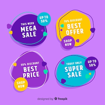 Flat design sale label collection
