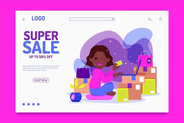 Плоский дизайн целевой страницы продажи