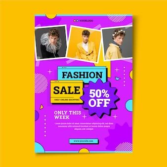 Flat design sale poster with photo Premium Vector