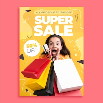 Flat design sale poster with photo