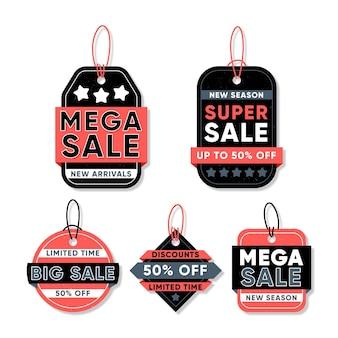 Collezione di tag di vendita design piatto