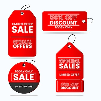 Flat design sale tags collection