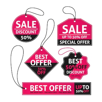 Flat design sale tags set