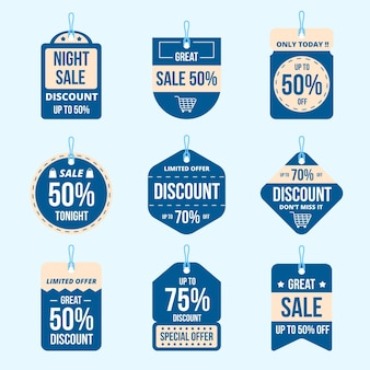 Flat design sale tags