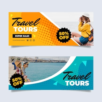 Flat design sales banners with photo