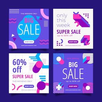 Pacchetto di post di instagram di vendita di design piatto