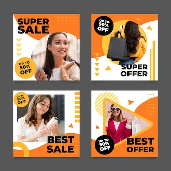 Flat design sales instagram posts with photos