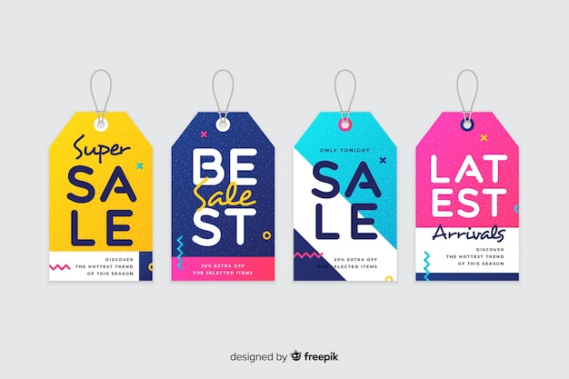 Flat design sales label collection