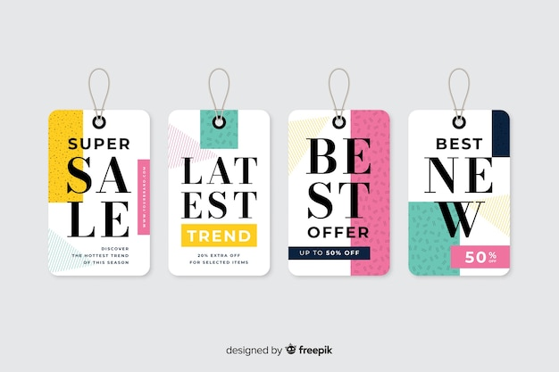 Flat design sales label collection