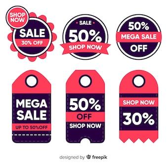 Flat design sales labels collection
