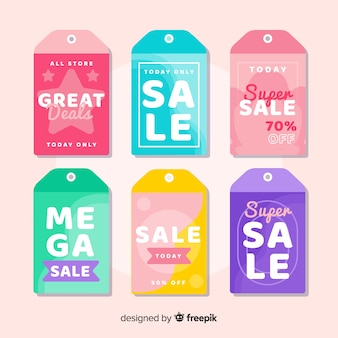 Flat design sales labels collection