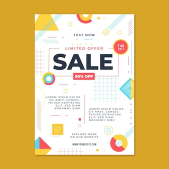 Flat design sales poster template