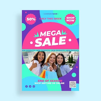 Flat design sales poster with special discount