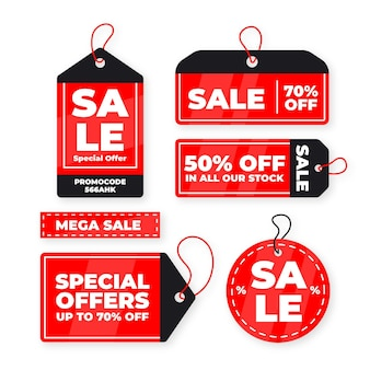 Flat design sales tag collection Free Vector