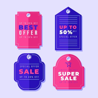 Flat design sales tag collection